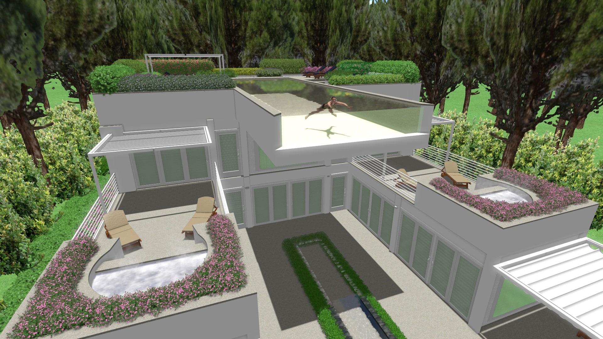Progettazione di piscina trasparente sulla terrazza davide giorgi paesaggista - Piscina gonfiabile terrazzo ...