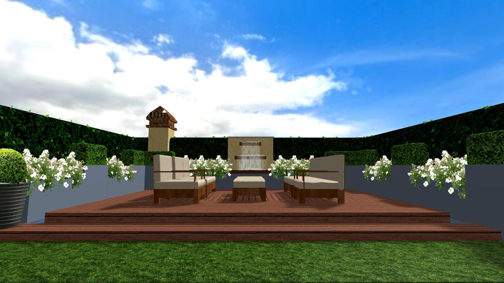 Progetto di una terrazza verde con gioco d 39 acqua davide for Progettazione giardini lucca