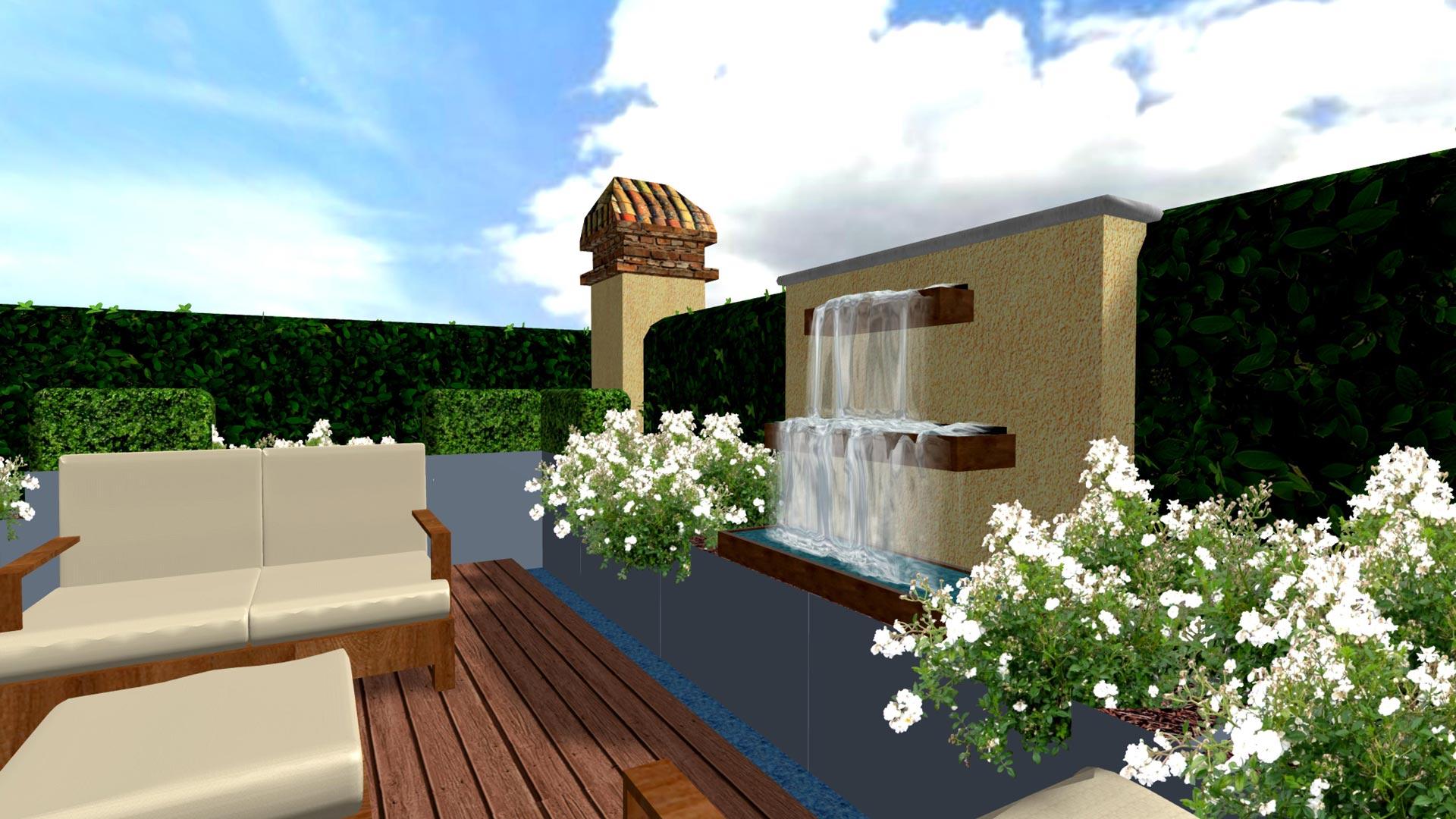 Progetto di una terrazza verde con gioco d\'acqua - Davide Giorgi ...