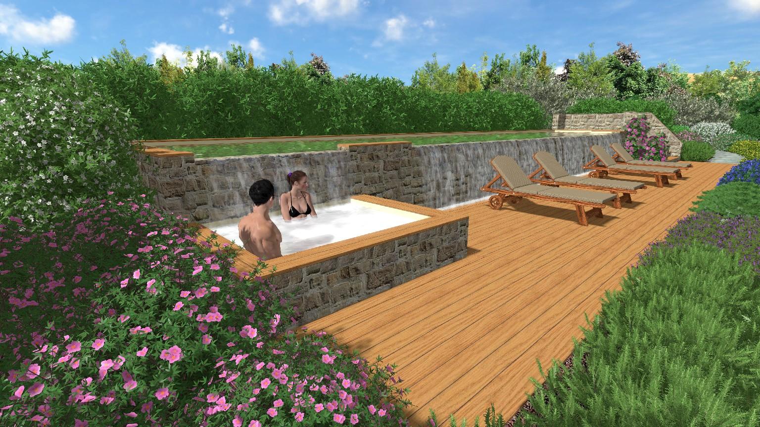 Progettazione di giardino con piscina in maremma davide for Rendering giardino